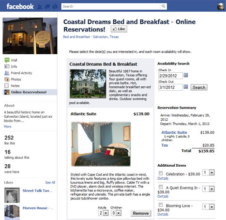 Your reservation system in Facebook.