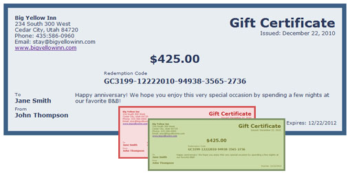 Reservationkey: Gift Certificates