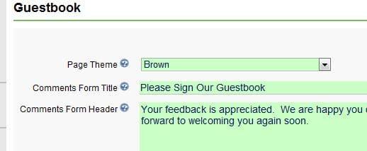 Guestbook settings